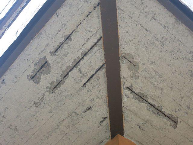 Karbonatisering på undersidan av en balkongplatta