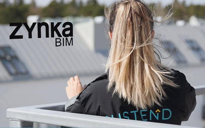 Bild som visar byggkonsult på tak samt loggorna för Zynka BIM och Sustend